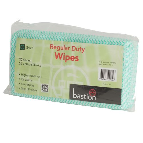 bastion regular duty wipes packs green