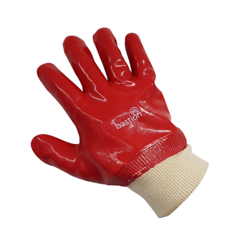 bastion red 27cm chemical gloves knitted cuff