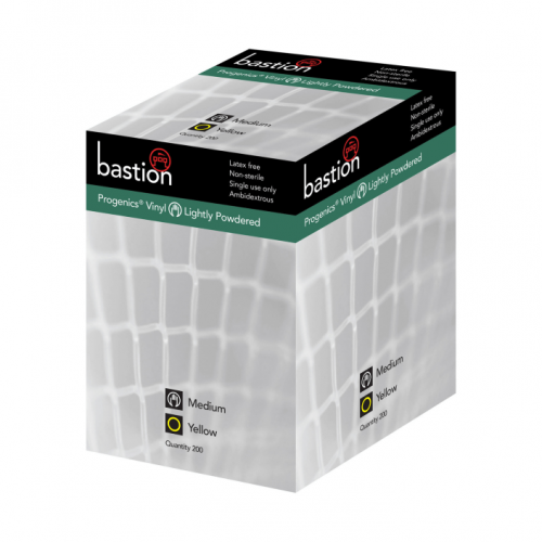 Bastion progenics vinyl yellow lightly powdered gloves
