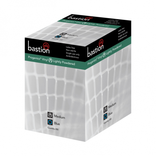 Bastion Progenics Vinyl Blue Lightly Powdered Gloves