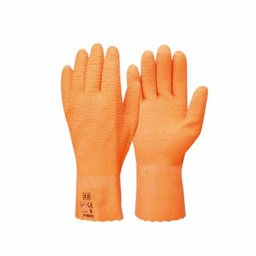 orange ruffy gloves
