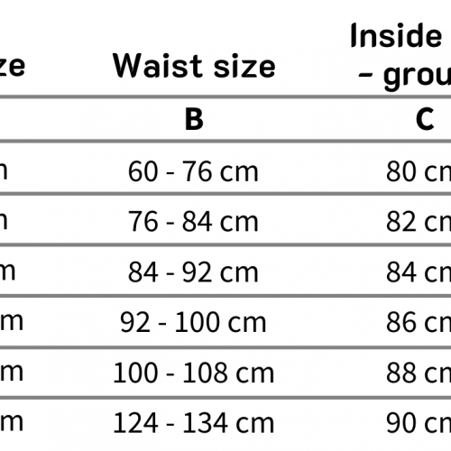 Guy Cotten clothing size chart